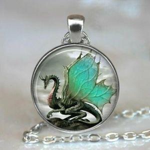 Medieval Fantasy Dragon Glass Pendant Necklace